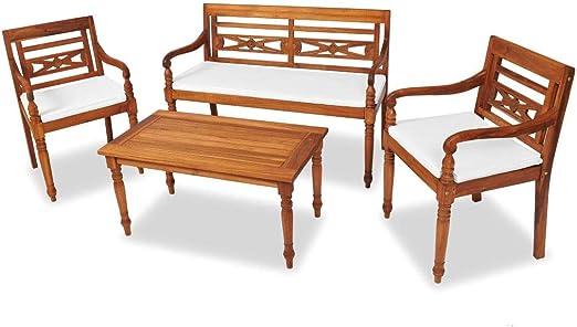 FZYHFA Juego de Muebles de jardín Batavia 7 Unidades de Madera de Teca diseño Simple y práctico, Estable y Duradera Juego de Mesa de Exterior de Mesa y sillas de jardín: Amazon.es: