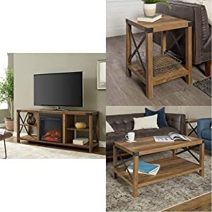 "Walker Edison Furniture Metal X Wood Fireplace Stand 64"" TV, 60 Inch, Reclaimed Barnwood 