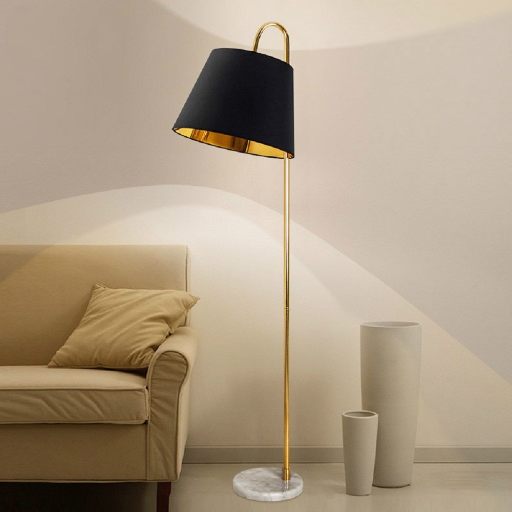 Lighting Groups Simple Modern Fishing Lights Nordic Vertical Floor Lamp with Cloth Art Shade American Living Room Bedroom Bedside Lamp Room Creative Table Lamp (Black)