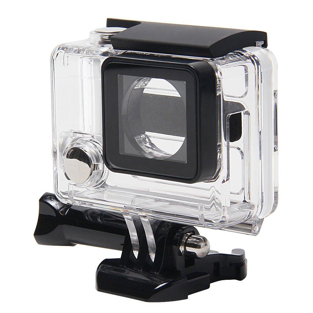 niceeshop(TM) Transparente/ Negro Cubierta Carcasa de Protector de Vista Lateral Abierto con Lente Objetivo para Hero Gopro Hero 3 +/ 4