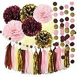 Burgundy Pink Glitter Gold Birthday Party Supplies Tissue Paper Pom Pom Tassel Garland Wedding/Burgundy Party Haning Decor/Bachelorette Party Decorations