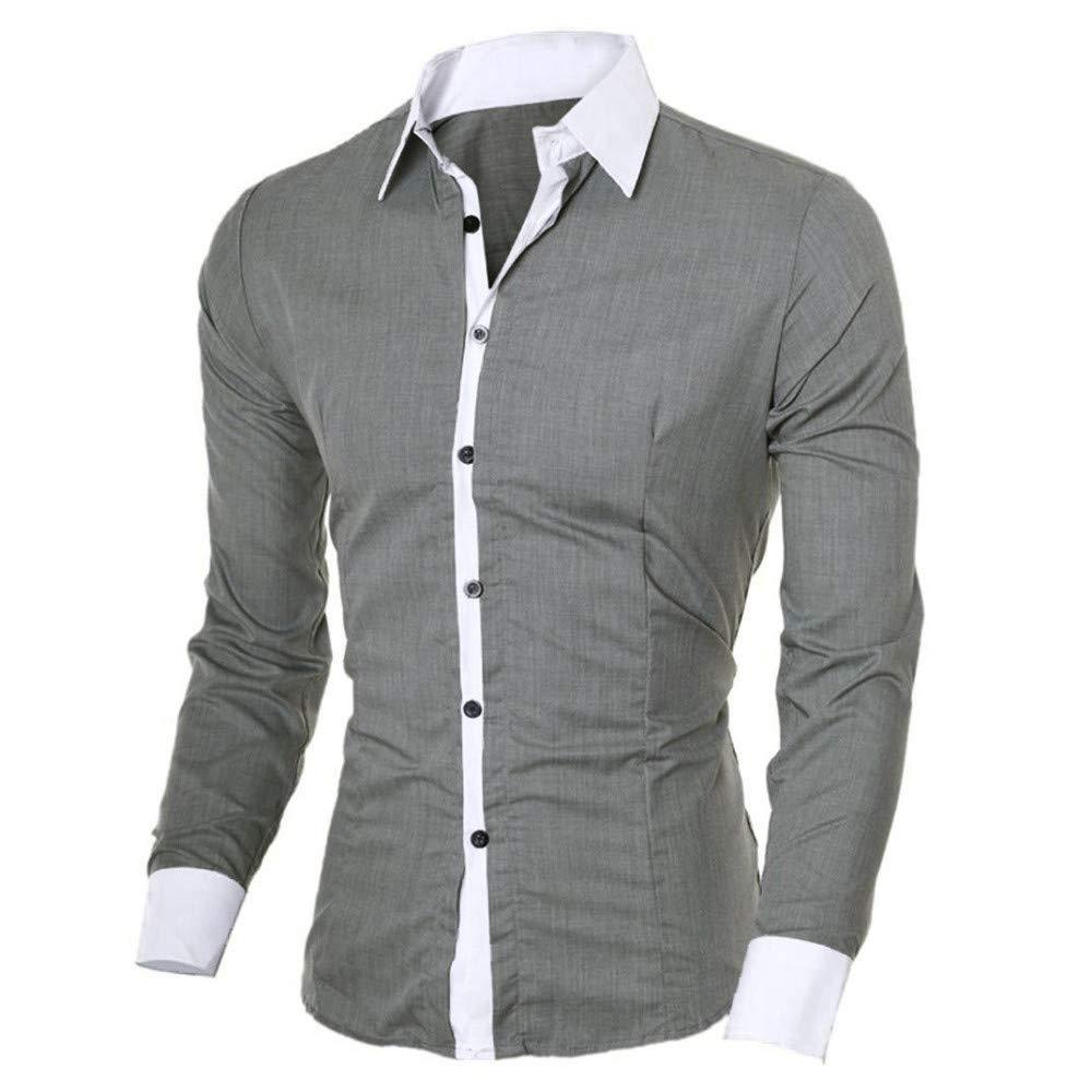 Cebbay Liquidación Camisa de Manga Larga para Hombres Empalme y diseño Delgado Personalidad de Negocios y Ocio Top de Camisa de Hombre