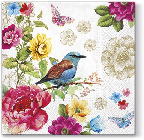 Luxuriousness Blue Bird of Paradise with Butterflies Paper Luncheon Napkins 40pcs 13