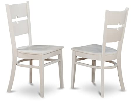 Superbe East West Furniture ROC WHI W Dining Chair Set With Wood Seat, White
