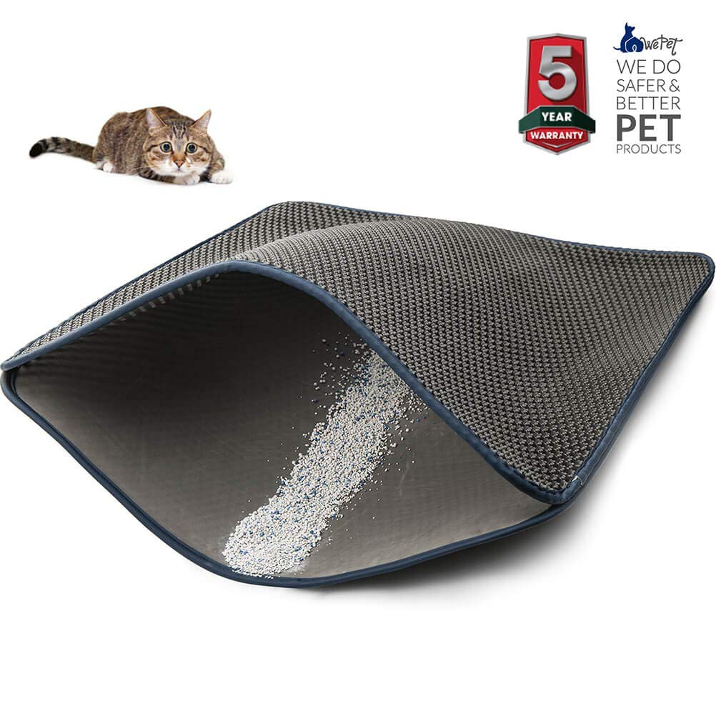 WePet Cat Litter Mat, Kitty Litter Trapping Mat, XL Super Size, Honeycomb Double Layer Mats, No Phthalate, Urine Waterproof, Easy Clean, Scatter Control, Catcher Litter Box Rug Carpet 45x35 Inch Grey by WePet