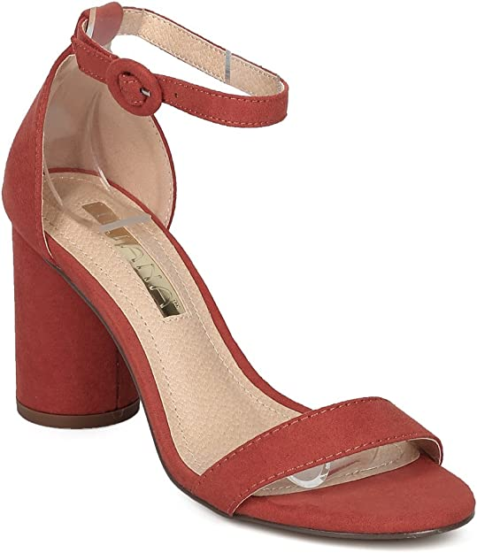 Womens Ladies Vegan Tan Faux Suede Block High Heel Peep Toe Strap Sandals Size