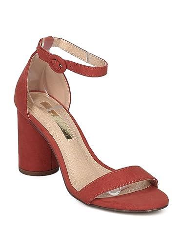 7932c8af38 Alrisco Women Faux Suede Open Toe Ankle Strap Round Block Heel Sandal HC47  - Cinnamon Faux