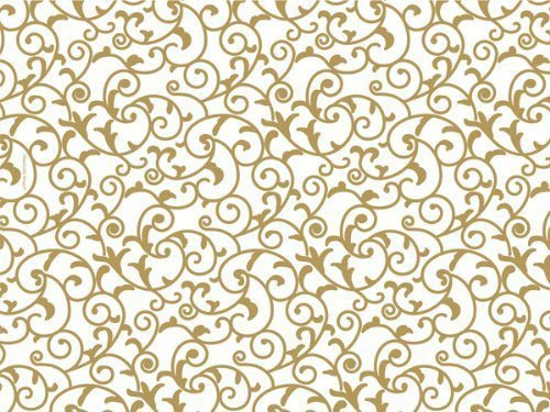 Gold & White Elegant Scroll Tissue Paper X Large - 24 Sheets