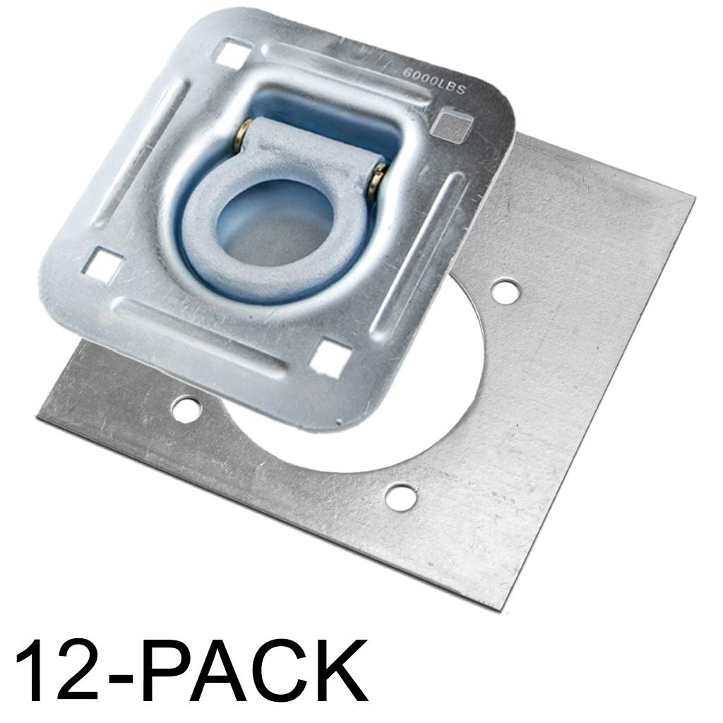 Recessed D-Ring 6,000 lb. Cap. Tiedown w/ Backing Plate - 12 pack