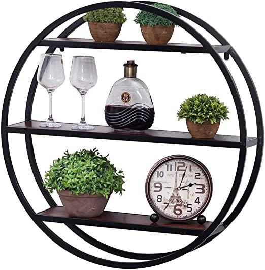 Vintage Wall Shelf Storage Round Oval Floating Wall Hanging Shelf Display Decor