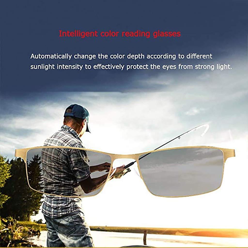 komfortabler Federscharnierleser bifokale Anti-Blau-Metallbrille f/ür /ältere Leser LEILEI Intelligente Farblesebrille Ausgabe : +1.00