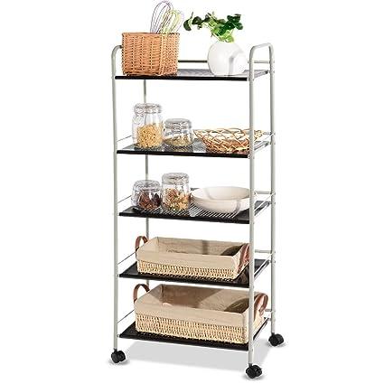 Giantex Steel Utility Cart Storage Shelf Rack Mobile Casters Metal Mesh  Commercial Kitchen Warehouse Garage Bathroom Capacity Shelving Shelves ...
