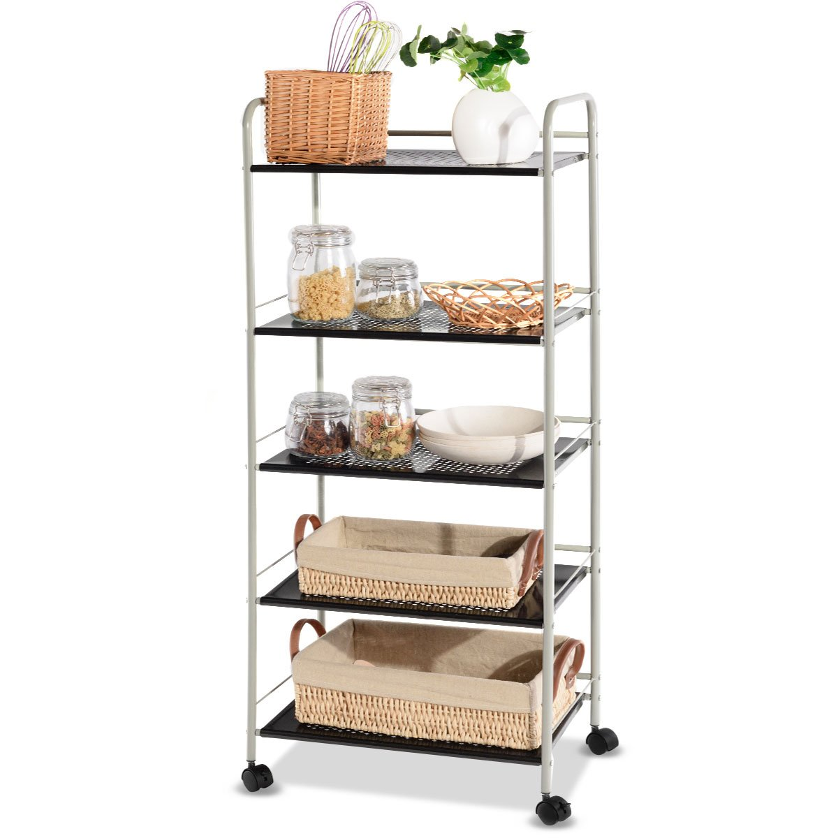 Giantex Steel Utility Cart Storage Shelf Rack Mobile Casters Metal Mesh Commercial Kitchen Warehouse Garage Bathroom Capacity Shelving Shelves Organizer W/Lockable Rolling Wheels (5 Tier Wide)