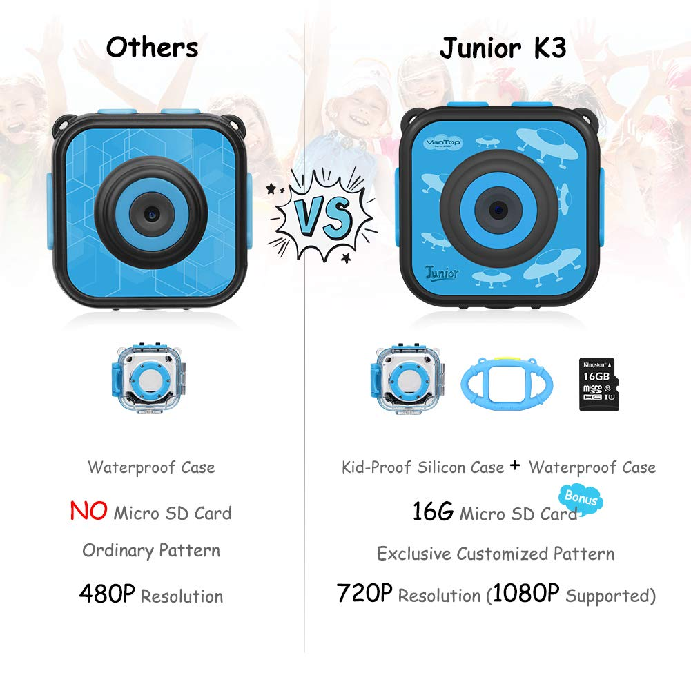 VanTop Junior K3 Kids Camera, 1080P Supported Waterproof Video Camera w/ 16Gb Memory Card, Extra Kid-Proof Silicon Case by VanTop (Image #7)