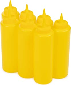 Yellow Mustard Squeeze Bottle Value Combo Pack | 7-pack 16-oz Plastic Kitchen Table Condiment Squirt Dispensers | Restaurant Supplies for Food Truck, Grilling, Dressing, BBQ Sauce, Crafts