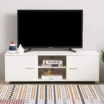 Keinode - Mueble de TV LED Moderno con 2 Puertas y 2 estantes para TV, Mueble de Almacenamiento para Sala de Estar, Dormitorio, Oficina, 120 cm Blanco: Amazon.es: Electrónica
