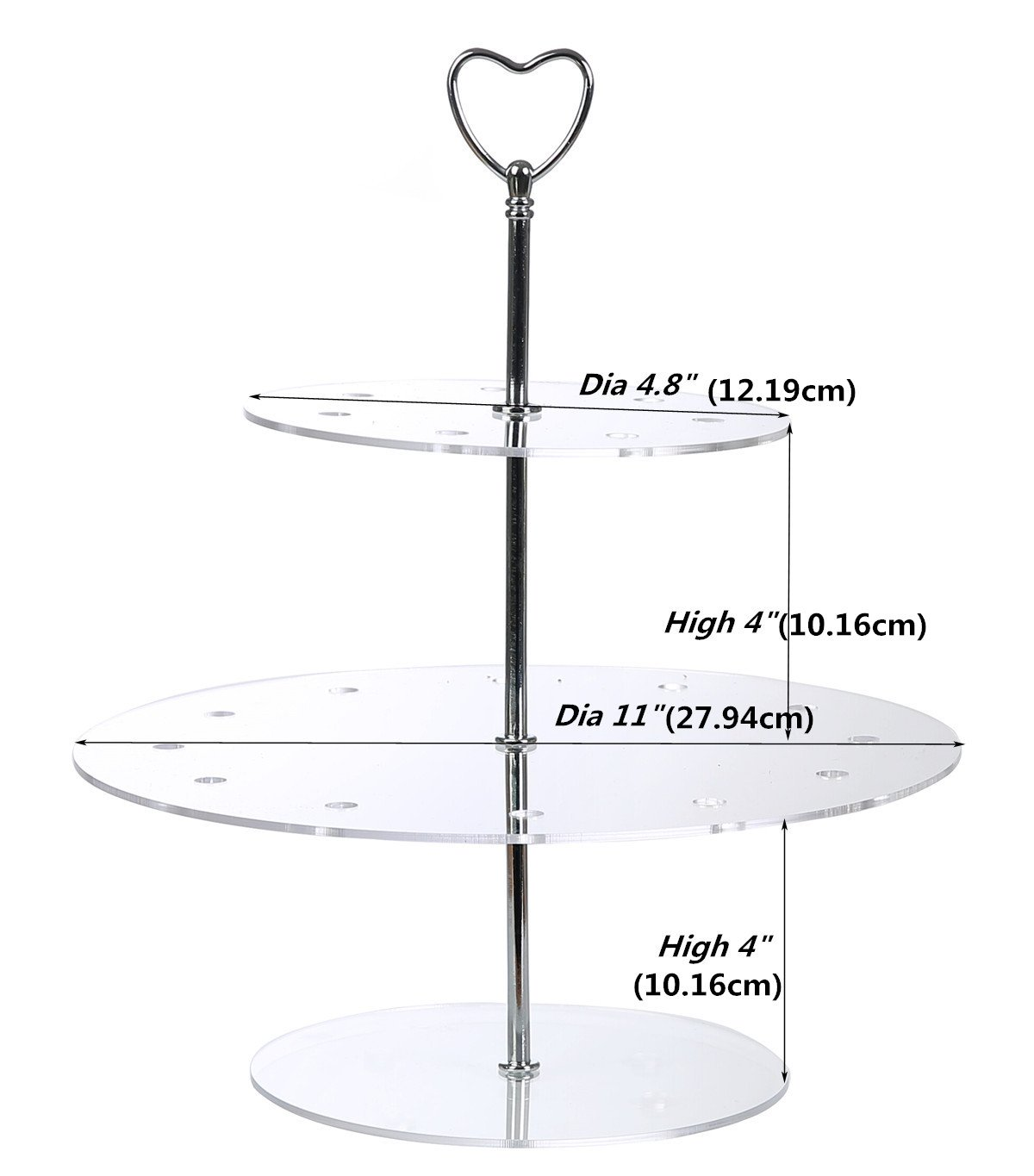 ihomecooker 3-Tier Round Acrylic Cake Push Pops Cake Stands Wedding Party Tea Serving Platter Cupcake Dessert Cake Display Stand Holder 18 Holes