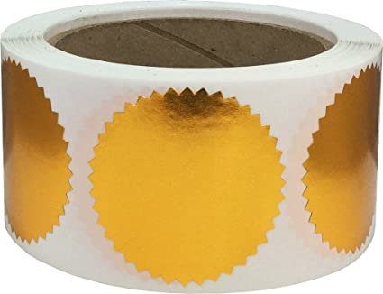 Gl/änzend Gold Wellenschliff Zertifikat Auszeichnung Verpackung Dichtungen 500 Etiketten auf einer Rolle 51 mm 2 Zoll Breit