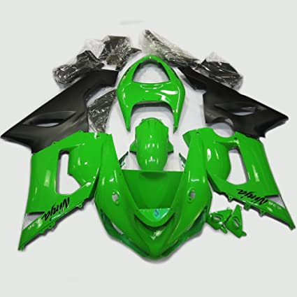 ABS Injection Molding - Green & Black Painted With Graphic Fairing Kit for Kawasaki Ninja ZX6R 636 (2005-2006)