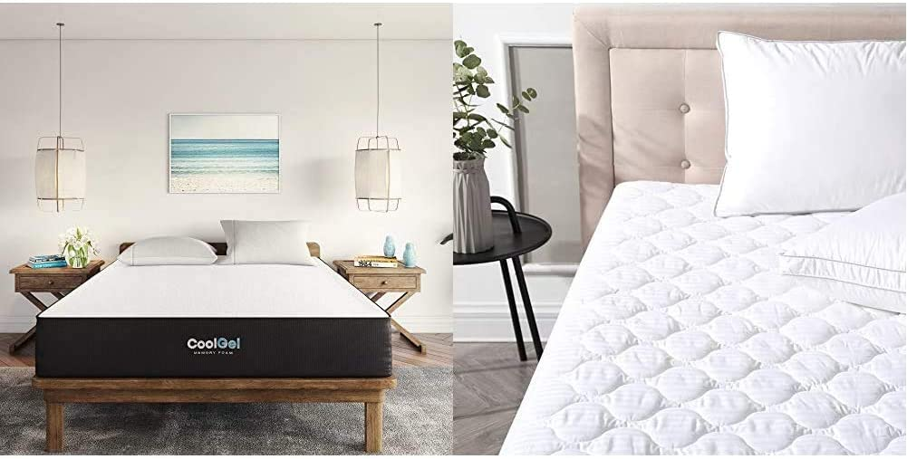 Classic Brands Cool Ventilated Gel Memory Foam 10-Inch Mattress, King, White & Defend-A-Bed Deluxe Quilted Waterproof Mattress Protector, King