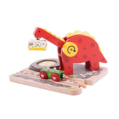Bigjigs Rail Wooden Dino Crane - Other Major Wood Rail Brands are Compatible: Toys & Games