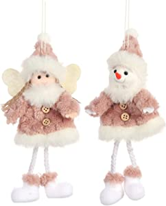 PGYFIS Christmas Decoration 2 Pieces Angel Doll Pendant Tree Hanging Ornaments Christmas Crafts Elves Decorations (Angel-Pink2)