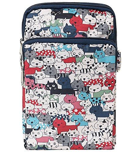Lightweight Red Pattern Cross Body Cat Bag ililily Pocket Bag Shoulder Mini Purse Strap gU5aaPq