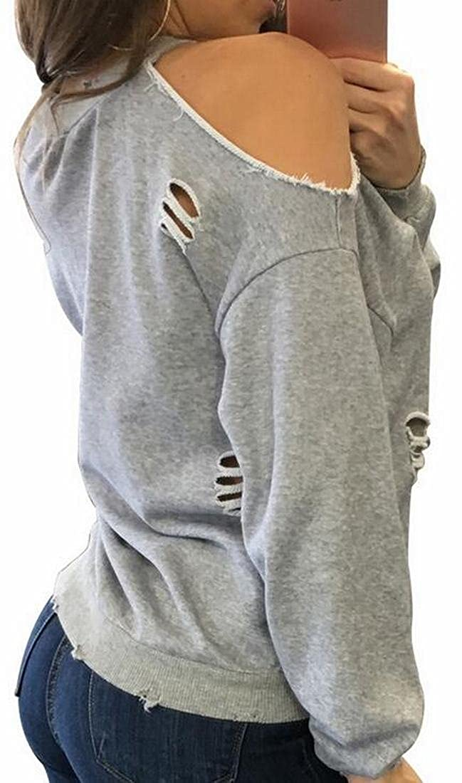 HTOOHTOOH Womens Long Sleeve Ripped-Holes Off Shoulder Pullover Fashion Sweatshirt