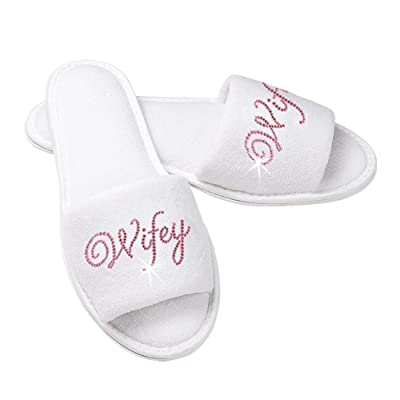Wifey Terry Cloth Bridal Slippers with Rhinestone Wifey - White and Pink   Slippers