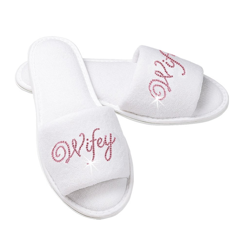 Wifey Terry Cloth Bridal Slippers with Rhinestone Wifey - White and Pink (S/M (Fits 6-9))
