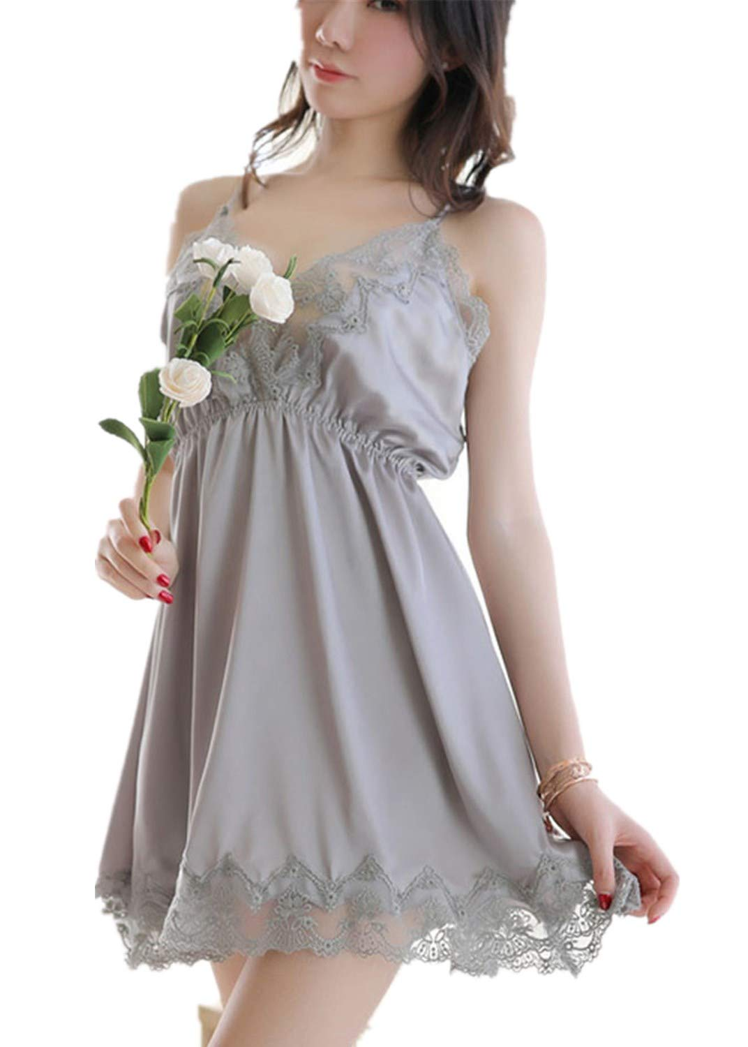 Womens Lingerie Sleepwear Deep V-Neck Lace Sexy Sleeveless Backless Camis Dress Nightgown (M, Gray)