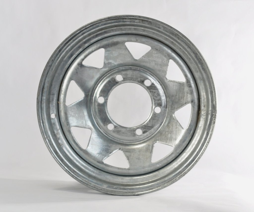 eCustomRim Trailer Rim Wheel 15'' x 6'' 15x6 6 Lug Hole Bolt Wheel Galvanized Spoke Design