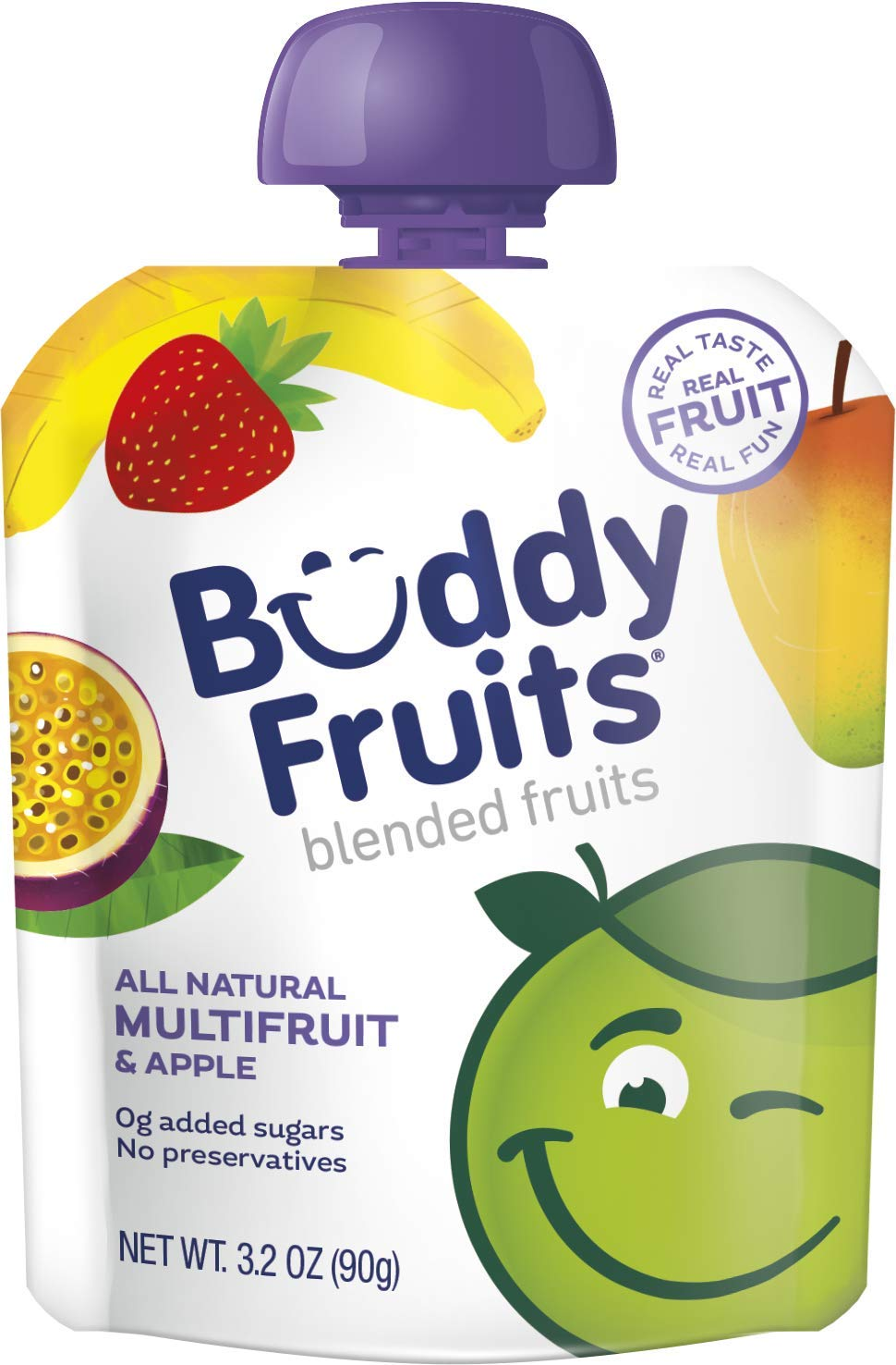 Buddy Fruits Pure Blended Fruit To Go Multifruit Applesauce | 100% Real Fruit | No Sugar, Non GMO, Vegan, Gluten Free, No Preservatives, BPA Free , Certified Kosher | 3.2oz Pouch 24 Pack