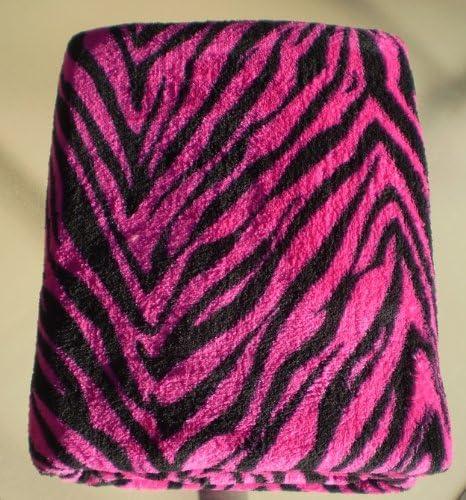 Queen Zebra Blanket Flannel Super Soft Bright Pink Animal Safari Throw Warm New