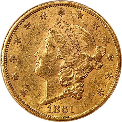 1861 S $20 Liberty Gold Twenty Dollar AU58 PCGS\CAC - 1861 Gold Dollar