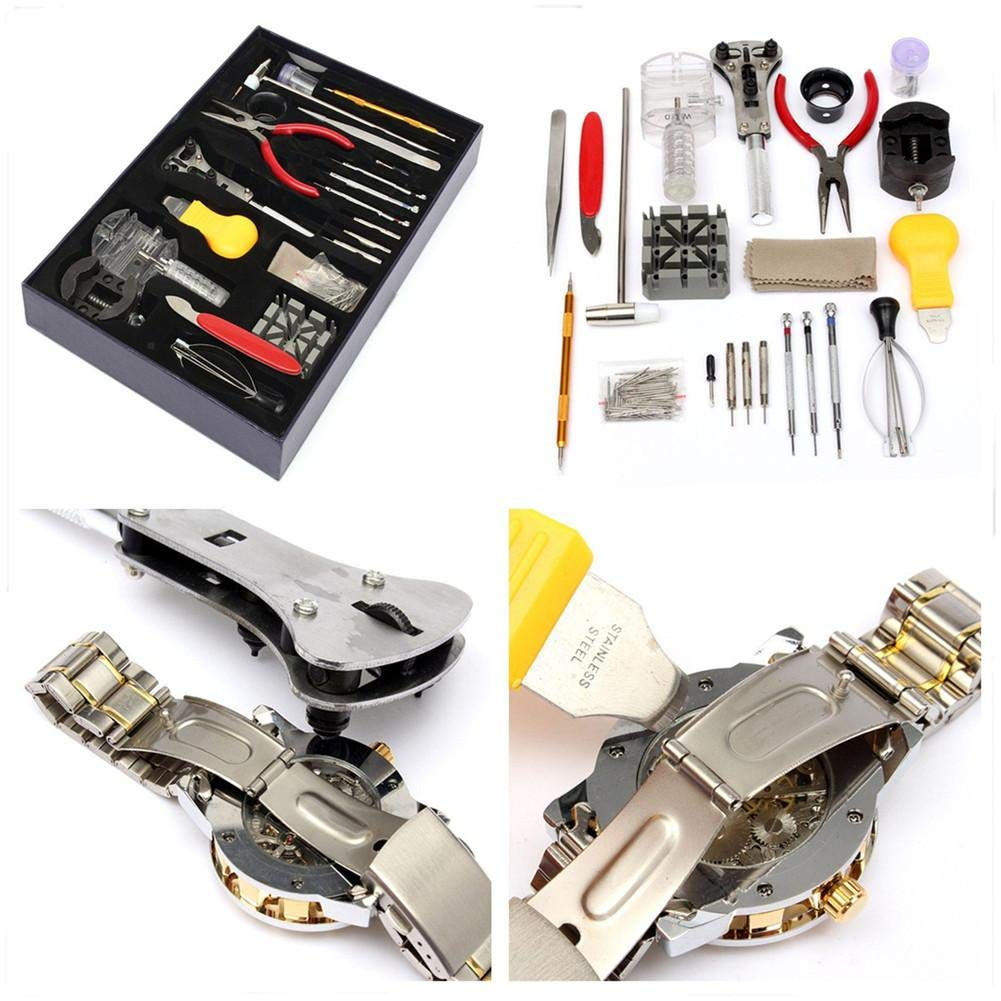 iBaste_S 155Pcs Watch Repair Tool Kit Watchmaker Back Case Holder Opener Wrench Cover Remover Adjustable Spring Pin Bar Watchmaker Tool Kit