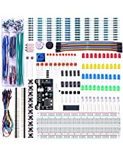 Elegoo Upgraded Electronics Fun Kit w/Power Supply Module, Jumper Wire, Precision Potentiometer, 830 tie-Points Breadboard for Arduino, Raspberry Pi, STM32