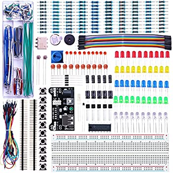Elegoo EL-CK-003  Upgraded Electronics Fun Kit w/ Power Supply Module, Jumper Wire, Precision Potentiometer, 830 tie-points Breadboard for Arduino, Raspberry Pi, STM32