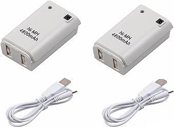 booEy 2x Controller Akku Pack für Xbox 360 4800mAh mit Ladekabel weiss