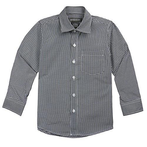 Spring Notion Big Boys' Long Sleeve Gingham Shirt 12 Black (Boys Black Gingham Shirt)