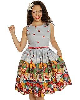 Lindy Bop Audrina Holland Print Swing Dress