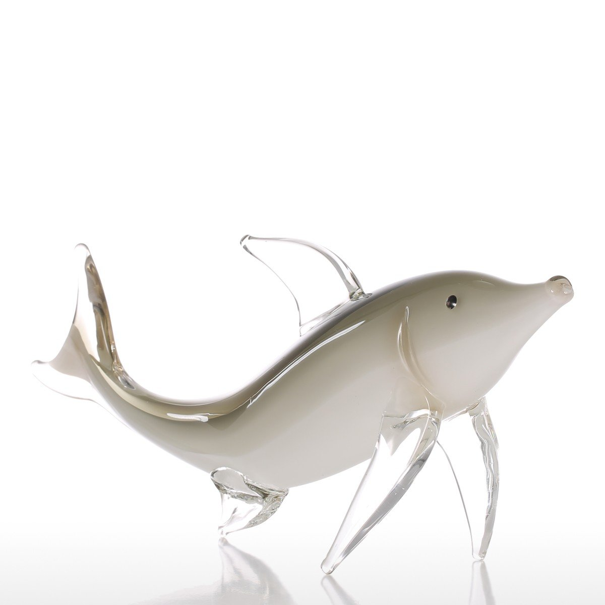 Tooarts Grey Fish Gift Glass Ornament Animal Figurine