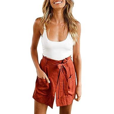 93f552bc4a15 MrTom Pantalones Cortos Mujer Verano con Cinturón + Camisetas sin ...