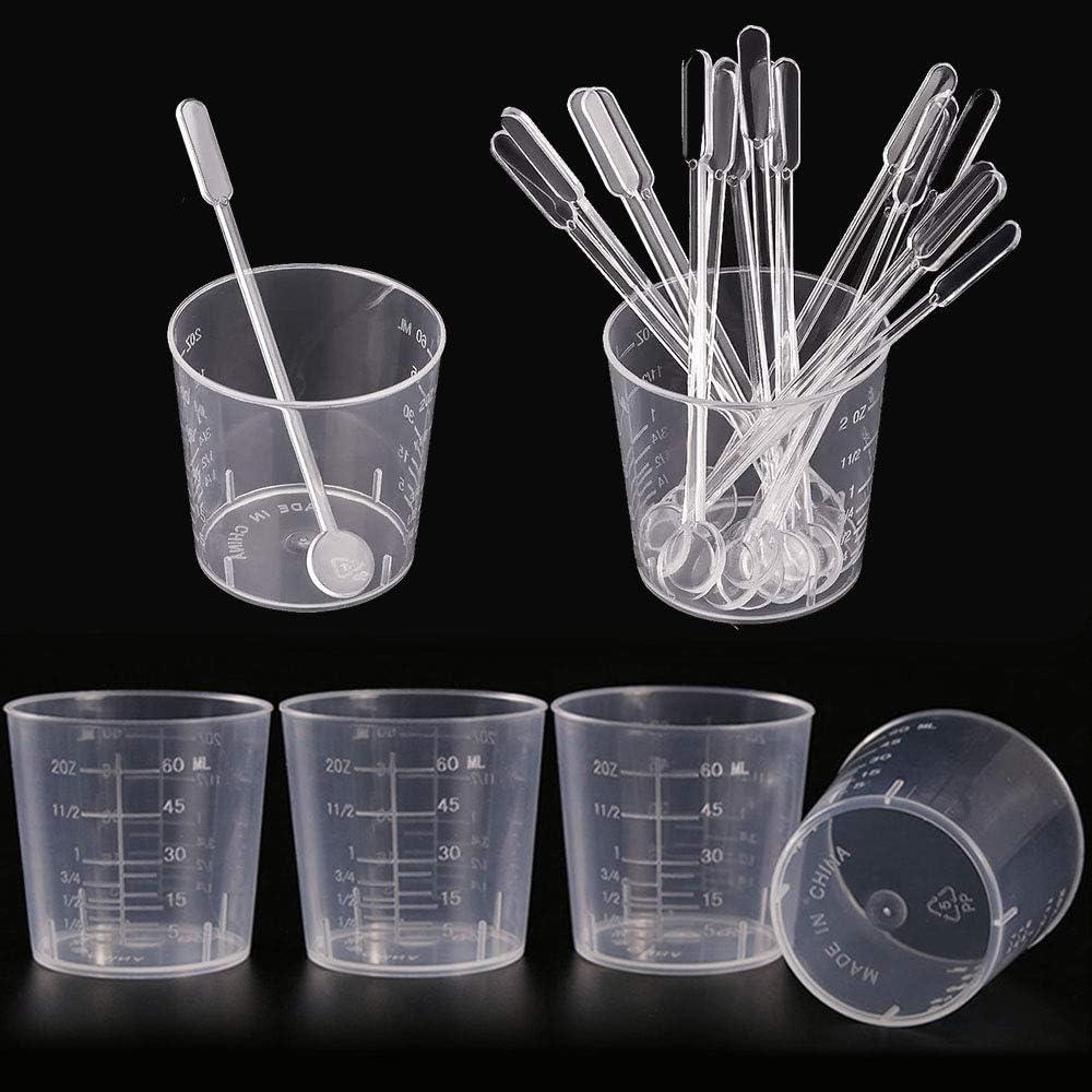 Artibetter Misurini monouso per Resina Confezione da 2 Bicchieri di miscelazione epossidici in plastica Trasparente Graduata per Vernice Macchia Resina epossidica Resina 600 ml