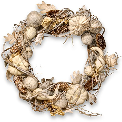 (National Tree 20 Inch White Tipped Pinecone Wreath with Gourds, Berries and Ball Ornaments (RAHV-W060669A))