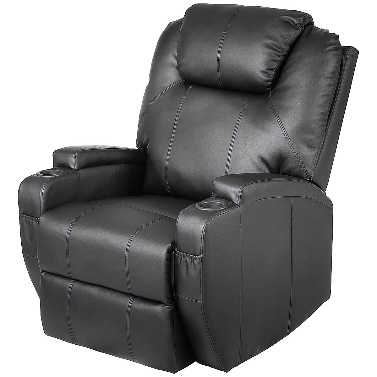 TANGKULA Massage Recliner Chair, Deluxe Ergonomic Adjustable Design PU Leather Heated Vibrating 2 Cup Holders, Side Pouch, Remote Control Living Room Home Theater, Recliner Seat AM1654HM