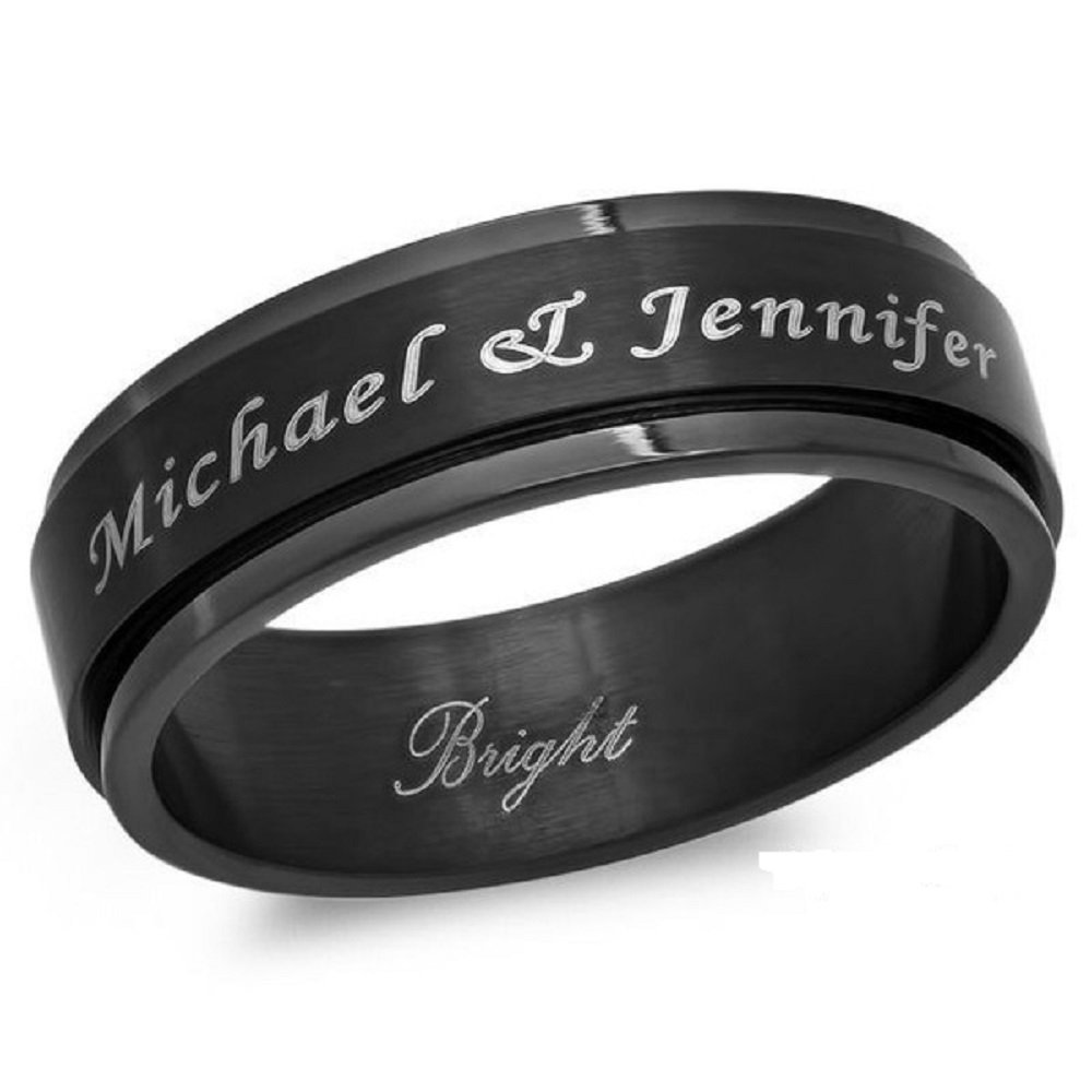 Free Engraving Personalized 8mm Stainless Steel All Black Ip Spinner Ring Forevergiftsusa