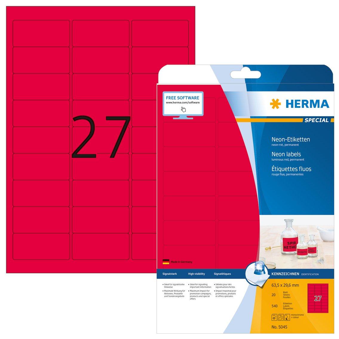 bedruckbar 63,5 x 29,6 mm Herma 5045 Neonetiketten neon rot signalstark selbstklebend 20 Blatt DIN A4 Papier farbig matt 540 Farbetiketten