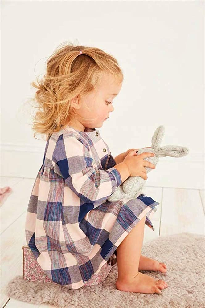 HILEELANG Girl Casual Cotton Long Sleeve Dress Christmas Winter Warm Stripe Basic Play Tunic Shirt Dress