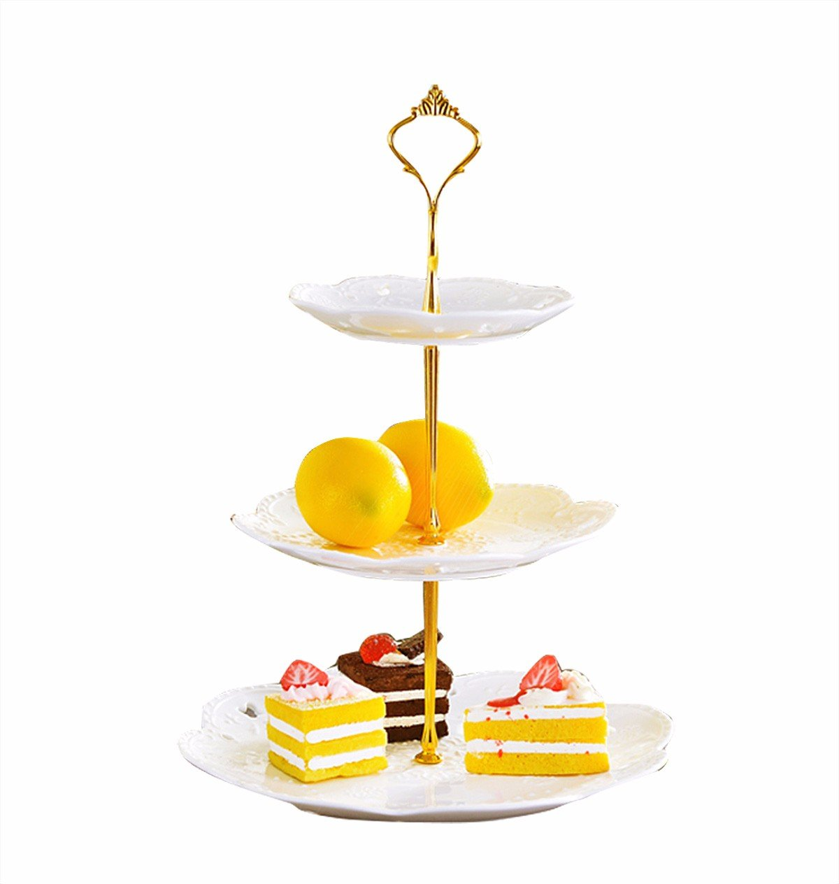 Freebily 3 Tier Cake Stand Cake Plate Display Holder Handle Fittings Finish Metal for Tea Shop Room Hotel Gold One Size by Freebily (Image #2)